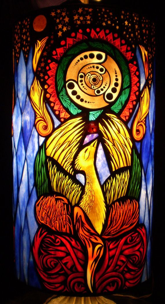 Pheonix Rising Pendant Lamp by Woodlandstainedglass on Etsy, $1800.00