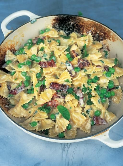 Farfalle with carbonara & spring peas Smoky, creamy and fresh A lovely, simple twist on the classic carbonara with green peas and smoky streaky bacon