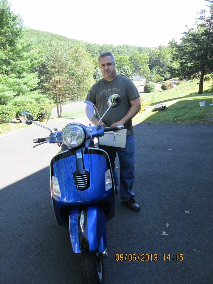 Three cheers for Pepe who scored this Certified Pre-Owned 2007 Vespa GT 200! This beauty was custom painted by Ted, one of our own mechanics, who does spectacular work on our bikes !! Enjoy this Bike Pepe, we know you'll love it !!