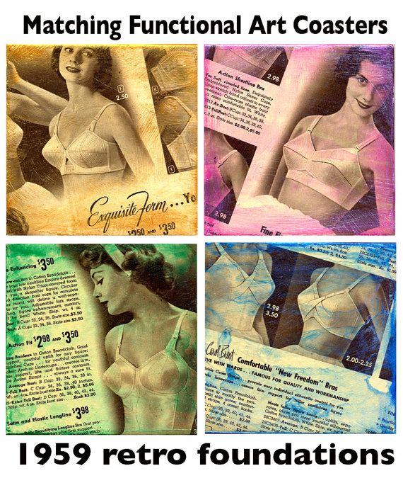 Retro, Bra Coasters from 1959 Montgomery Ward Catalog , by GG Burns