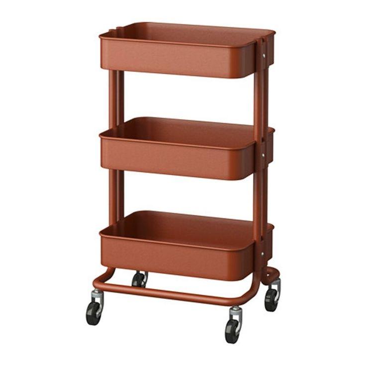 Vintage Raskog Home Kitchen Storage Red Brown Utility Cart