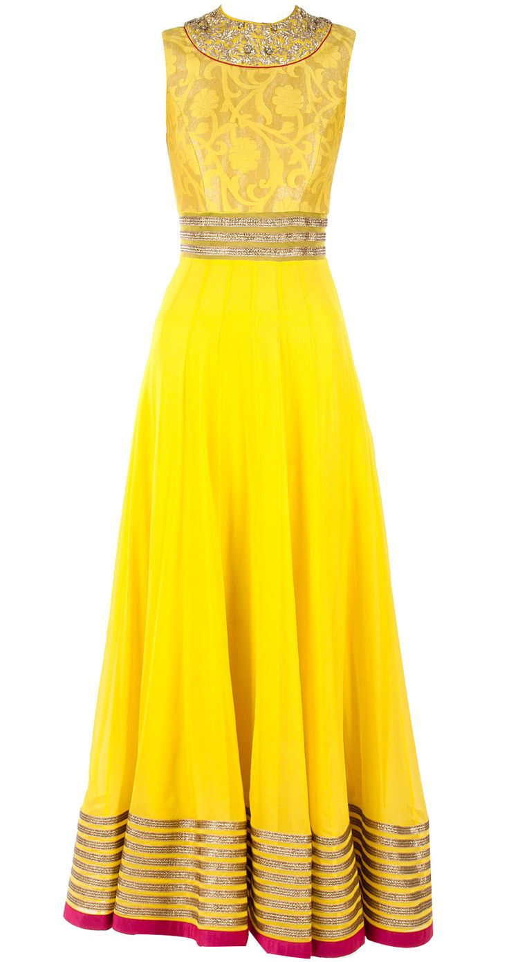 Yellow zardorzi embroidered anarkali set available only at Pernia's Pop-Up Shop.