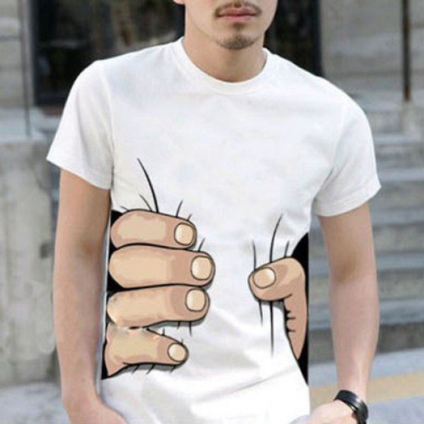 $10.70 Hot Sale Personality 3D Big Hand Print Slimming Round Neck Short Sleeves Men's White T-Shirt