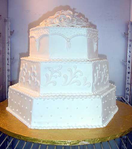Hexagon Wedding Cake   Kathy's Keative Kakes - White Hexagon Wedding Cake