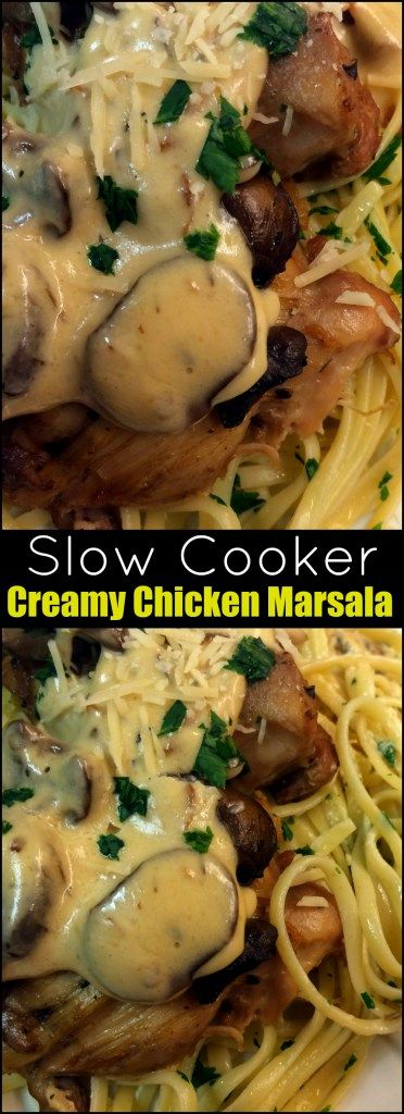 This Slow Cooker Creamy Chicken Marsala became an instant favorite!  One of our favorite crock pot recipes and pasta dishes!  The whole family loved it! Love it with the chicken thighs!