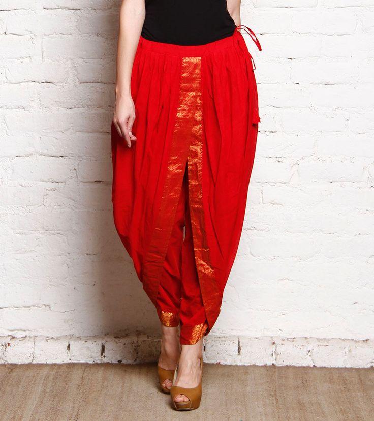 Red Mangalagiri Handloom Cotton Dhoti With Zari Work