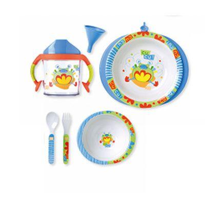 Vajilla 5 piezas con plato termo SARO 19,90 €  Vajilla de melamina. Incluye: plato termo, cuenco, vaso con asas, cuchara y tenedor.