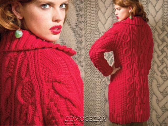 Короткое вязаное пальто схемы