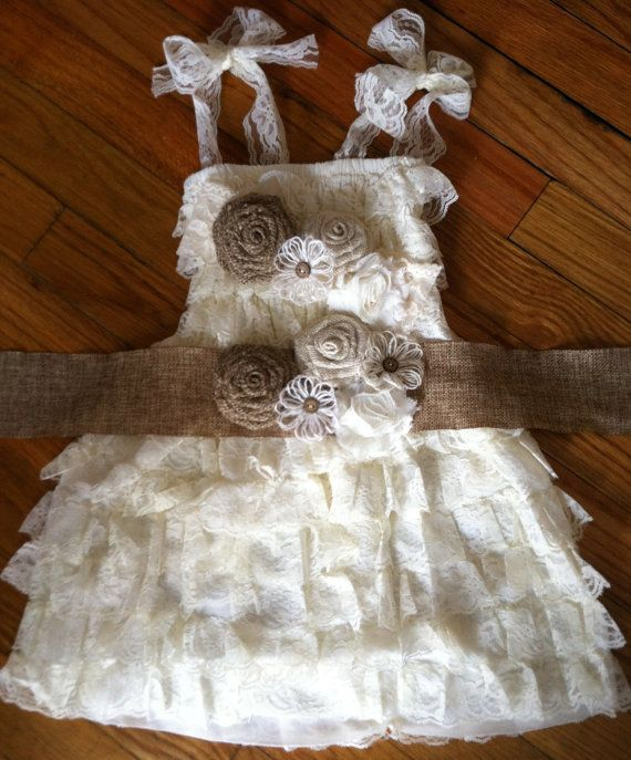 Rustic Ivory Lace Flower Girl Lace by TheDaintyDaisyNJ on Etsy, $62.50 perfect for my Maddy