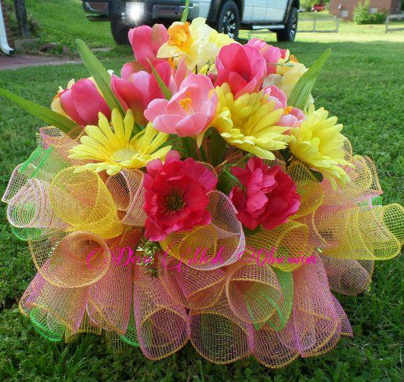 17 Best images about Cemetery arrangements on Pinterest | Deco mesh, Silk flower arrangements ...