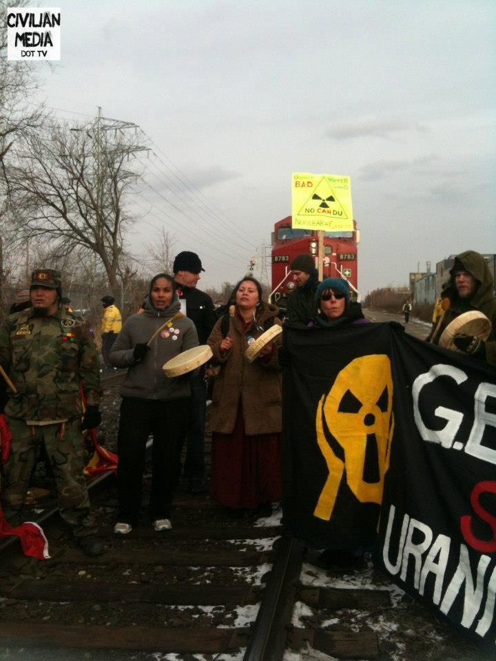 february 3, 2013 - CP Rail Blockade In Toronto. IDLE NO MORE Day of Action Against G.E. Uranium Plant