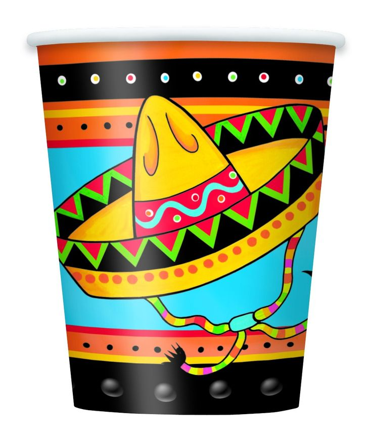 Fiestivity Paper Cups 9oz 8ct | Wally's Party Factory #cincodemayo #fiesta #cups