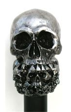 Metallic Finished Skull Head Cane with a Unihorn