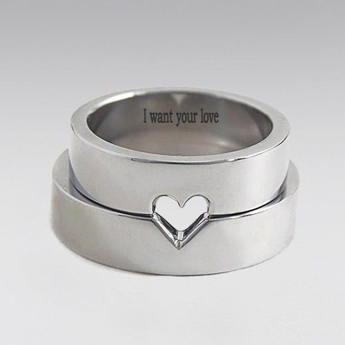 I Want Your Love Engraved Matching Heart Wedding Ring His And Hers