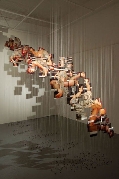 CHLOE OSTMO 'FALLING' - nice installation using Photography (from Brighton Uni degree show 2006) ... INSTALLATIONS