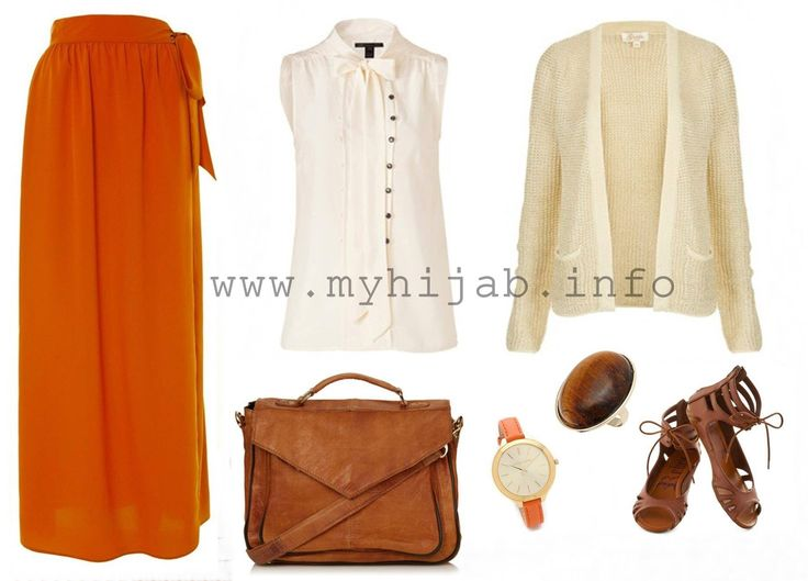 Orange, Ivory and Brown Outfit Match