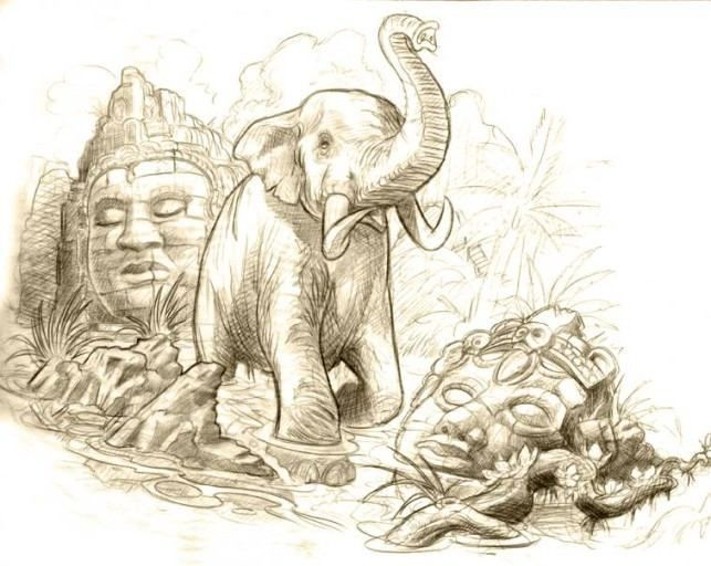how to draw an elephant crashing through