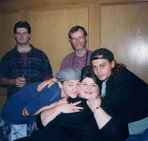 Rare pic for Johnny Depp , Leonardo DiCaprio and Lovely Darlene Cates ❤ What's Eating Gilbert Grape 1993 !