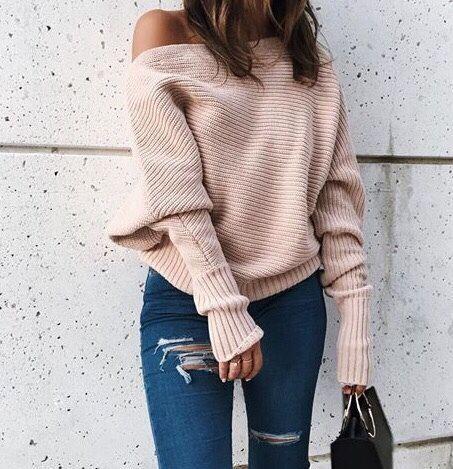 beige off the shoulder sweater