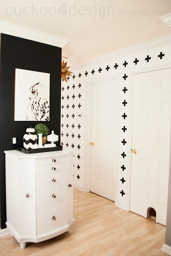 Black and White Cross Hallway Wall