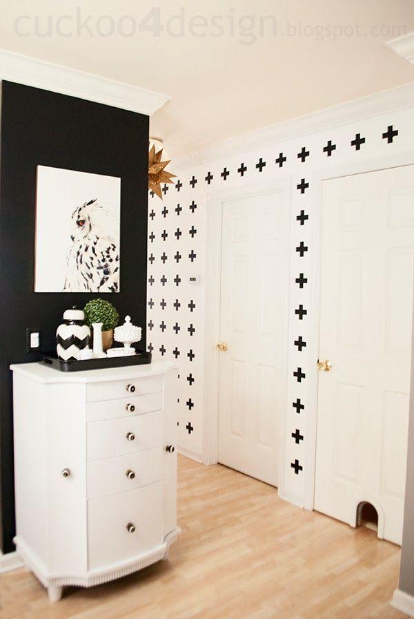Black and White Cross Hallway Wall