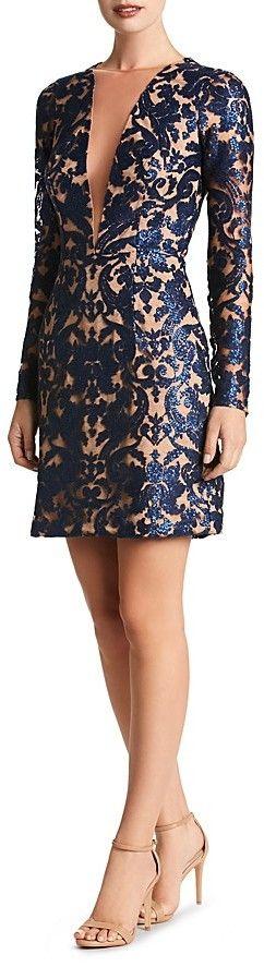 Dress the Population Claudia Illusion-Neckline Dress