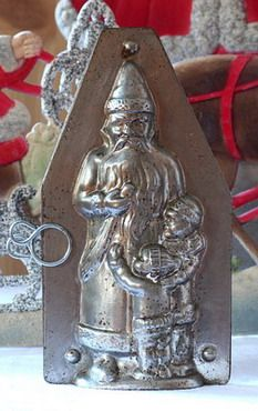 Antique German Chocolate Mold santa and Children