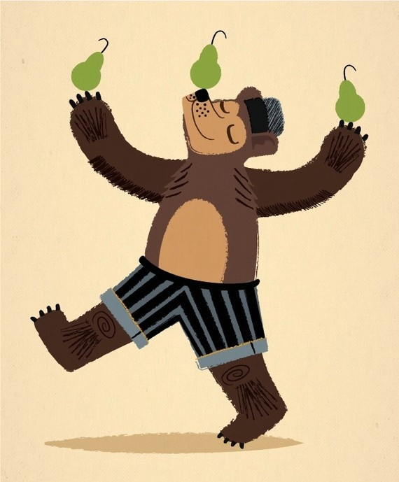 A Bear With Pears  Animal Art  kids by iotaillustration on Etsy, $16.00