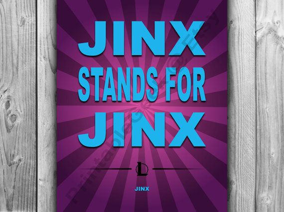 Who doesnt love the sassy Jinx and her need to mock Vi because, as we all know, Jinx stands for Jinx.  - - - - -  This listing is for a digital download of this customizable poster.  >> Because this listing is for a digital download, no physical item will be shipped to you.  >> Please include the following information in the notes box at check out. YOUR EMAIL: POSTER SIZE: (5x7, 8x10, 11x14, 16x20) FONT COLOR: BACKGROUND COLOR: BACKGROUND TEXTURE: (None, Crinkled paper)  >> ...