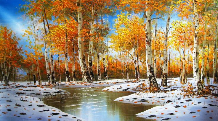 oil paintings | ... Forest Scenery, Handmade oil painting,White Birch Forest Scenery oil