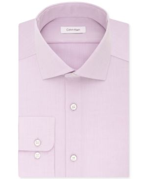 Calvin Klein Steel Men's Classic-Fit Non-Iron Performance Solid Dress Shirt - Pink 14.5 32/33