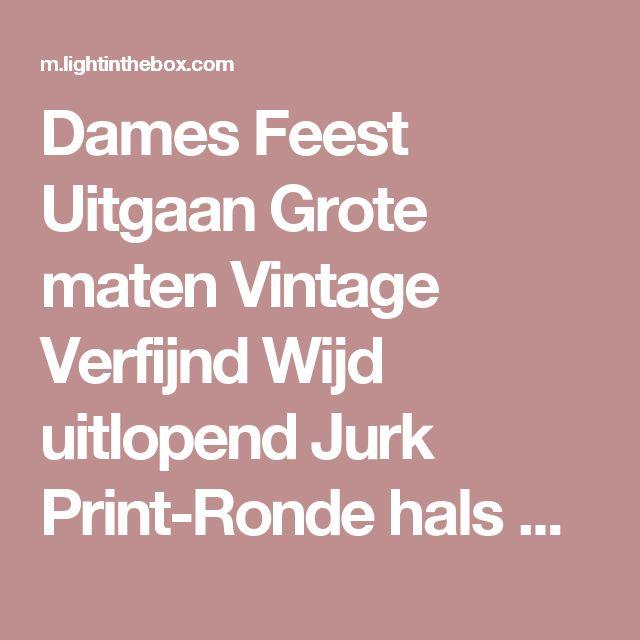 Dames Feest Uitgaan Grote maten Vintage Verfijnd Wijd uitlopend Jurk Print-Ronde hals Midi Korte mouw Rayon Alle seizoenen Hoge taille 2017 - €13.03