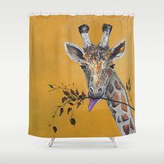 Giraffe in Orange Shower Curtain