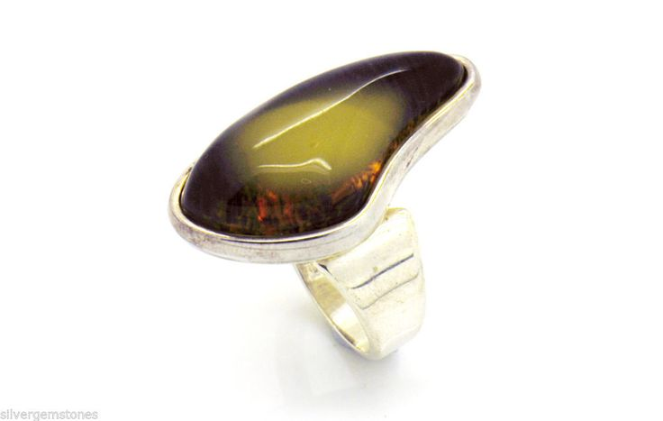 Baltic Honey Amber from Poland 925 Sterling Silver  Ring Adjustable Size 7.5-8