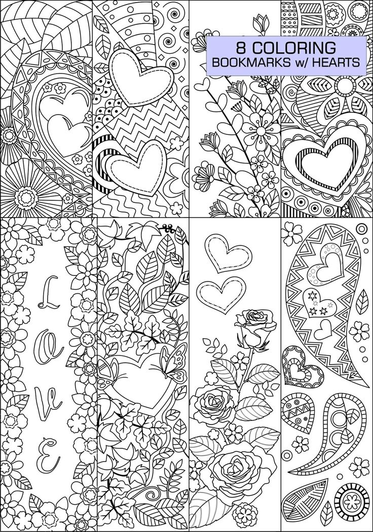 Eight Coloring Bookmarks With HeartsThe ZIP Folder Includes