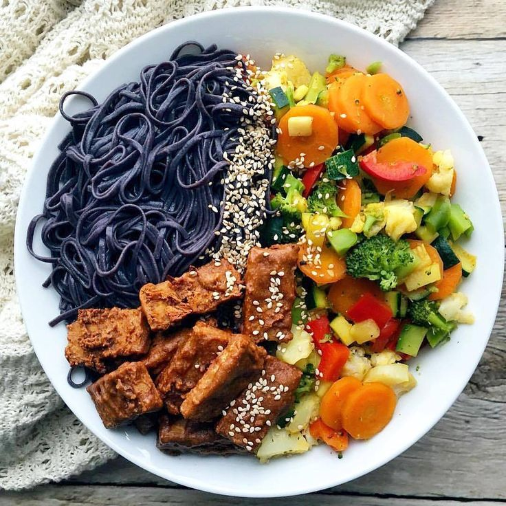 Also check @fitness_recipes . Black Rainbow bowl with peanut butter Tempeh by @plantbasedali_  Recipe: Ingredients: 1-2 servings 125g black rice noodles 1 big carrot 1 big zucchini 5 brokkoli florets (150g) 5 cauliflower florets (200g) 1 red bell pepper 1/2 tsp each paprika powder, chillipowder, cumin, ground tumeric 1 tsp veggie stock powder For the tempeh: 100g tempeh 2-3 tsp smooth natural peanutbutter 2 tbsp soysauce/tamari 1-2 tbsp maple sirup (adjust to desired sweetness) 1/2 tsp…