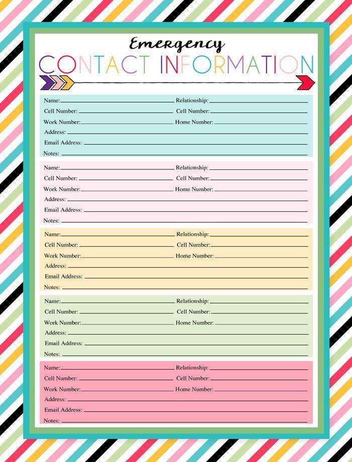 Free Printable Emergency Contact Sheet