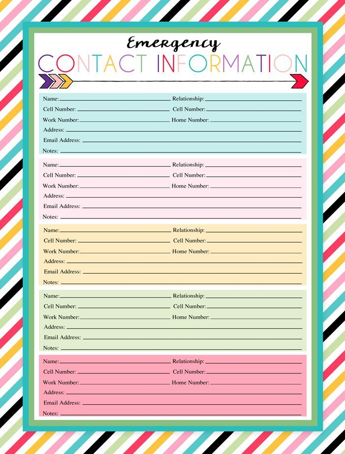 free printable emergency contact sheet