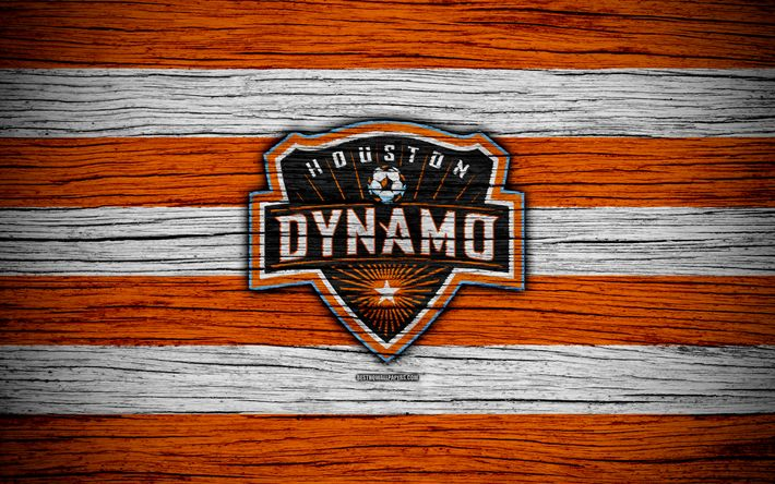 Download wallpapers Houston Dynamo, 4k, MLS, wooden texture, Western Conference, football club, USA, Houston Dynamo FC, soccer, logo, FC Houston Dynamo