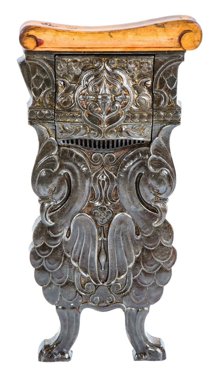 c. 1920's historically important ornamental cast iron salvaged chicago oriental theater auditorium figural seat end with detachable light grille - Products