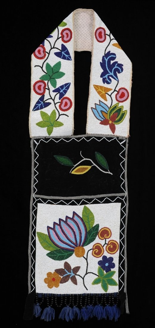 19TH C. Ojibway Bandolier Bag with Floral Motif
