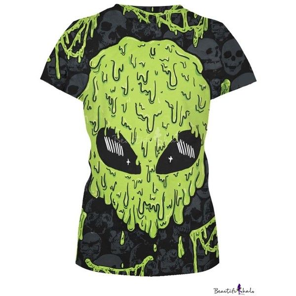 Green Alien Skull Print Short Sleeve Slim Tee (€27) ❤ liked on Polyvore featuring tops, t-shirts, green tee, short sleeve t shirts, short sleeve tops, skull top and slim fit t shirts