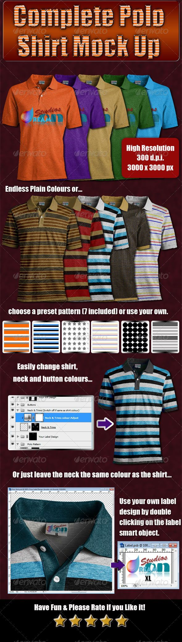 Design your own t-shirt label - Complete Polo Shirt Mock Up