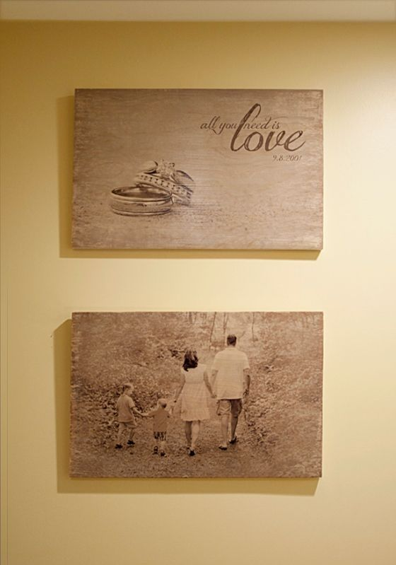 Transfer your favorite pictures directly onto wood. Vintage picture prints on rustic wood could make for a great Christmas present. by ark.perezgomez