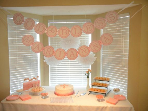 Personalized Baptism Banner, Christening Decorations, God Bless Banner - Printed