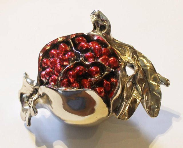 Unusual Paperweight Pomegranate Italian Laminated silver 925 Ornament Collectible  Rare Vintage by semelesparlour on Etsy