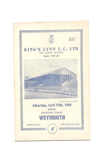Home to Weymouth   13/04/1968  Southern League