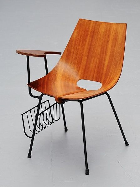 Vittorio Nobili Attributed; Molded Teak Plywood and Enameled Metal Chair, 1950s.