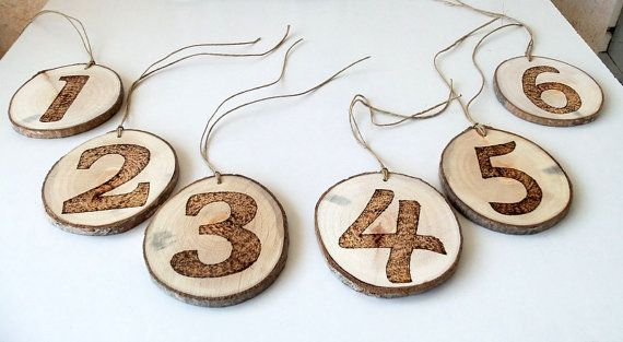 6 Wedding Table Numbers  6 Rustic Table by forestinspiration, $26.00