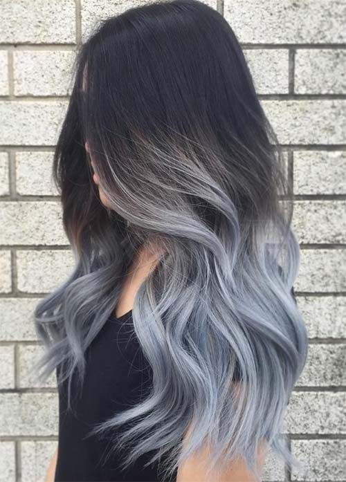 Granny Silver/ Grey Hair Color Ideas: Low Ombre Grey Hair
